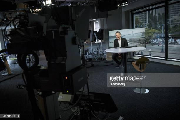 Aaron Levie chief executive officer and cofounder of Box Inc smiles during an interview in San Francisco California US on Wednesday June 27 2018...