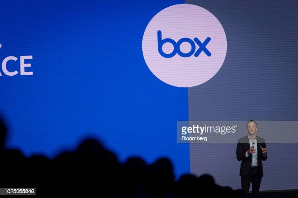 Aaron Levie, chief executive officer and co-founder of Box Inc., speaks during the BoxWorks 2018 Conference at the Moscone Center in San Francisco,...