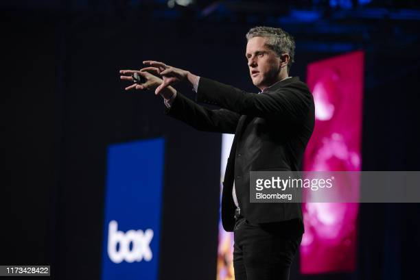 Aaron Levie, chief executive officer and co-founder of Box Inc., speaks during the BoxWorks 2019 Conference at the Moscone Center in San Francisco,...