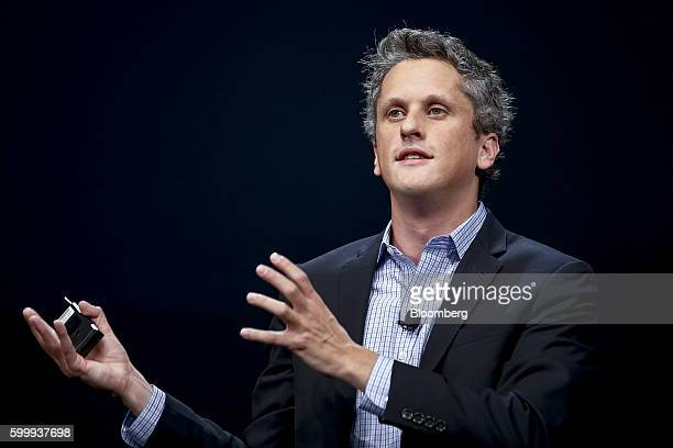 Aaron Levie, chief executive officer and co-founder of Box Inc., speaks during the BoxWorks 2016 Conference at the Moscone Center in San Francisco,...