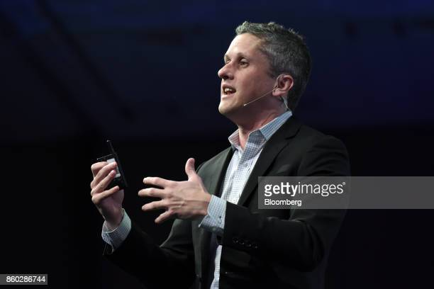 Aaron Levie, chief executive officer and co-founder of Box Inc., speaks during the BoxWorks 2017 Conference at the Moscone Center in San Francisco,...