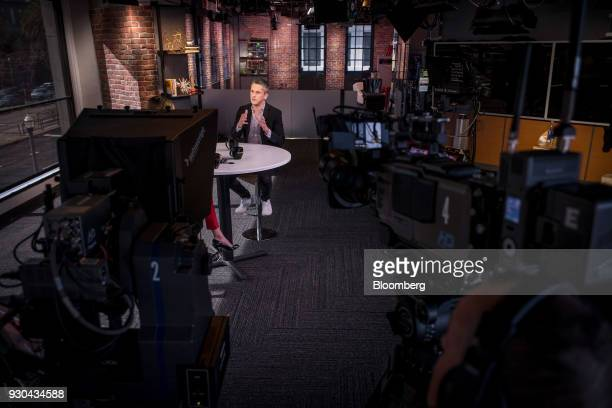 Aaron Levie chief executive officer and cofounder of Box Inc speaks during an Bloomberg Technology television interview in San Francisco California...