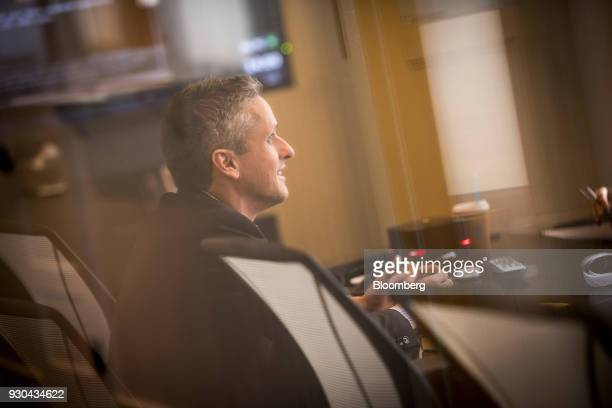 Aaron Levie chief executive officer and cofounder of Box Inc speaks during an interview in San Francisco California US on Tuesday March 6 2018 Levie...