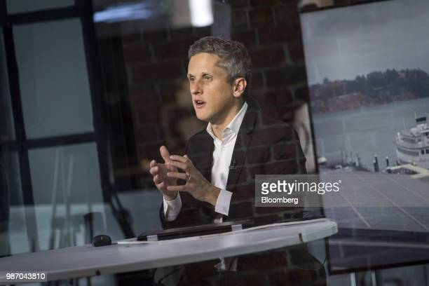 Aaron Levie chief executive officer and cofounder of Box Inc speaks during an interview in San Francisco California US on Wednesday June 27 2018...