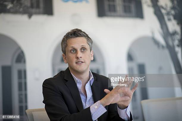 Aaron Levie, chief executive officer of Box Inc., speaks during an interview at the company's headquarters in Redwood City, California, U.S., on...
