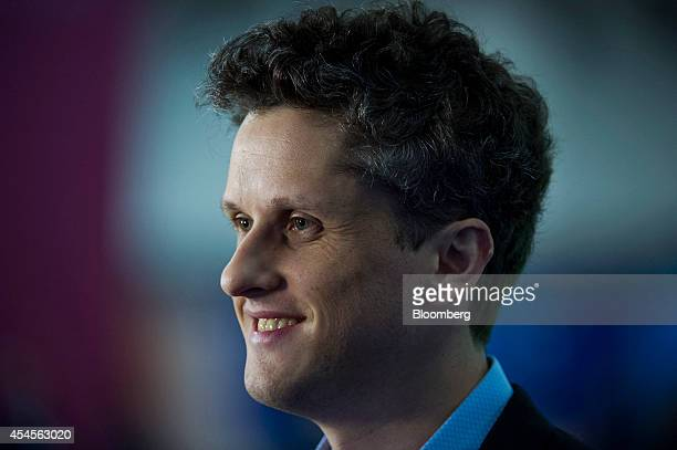 """Aaron Levie, co-founder and chief executive officer of Box Inc., smiles during a Bloomberg Television interview at the BoxWorks """"How Tomorrow Works""""..."""