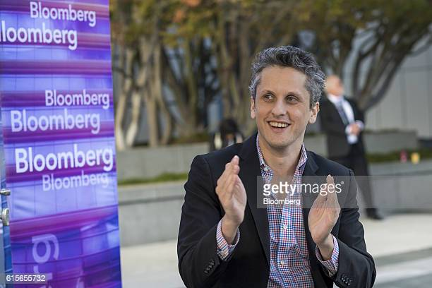 Aaron Levie, co-founder and chief executive officer of Box Inc., smiles during a Bloomberg Television interview at the Vanity Fair New Establishment...
