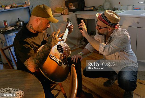 """Aaron Lewis and Director Jim Wright during the shooting of his, Aaron Lewis' Video Shoot For The New Single """"Granddaddy's Gun"""" from his CD """"The Road""""..."""