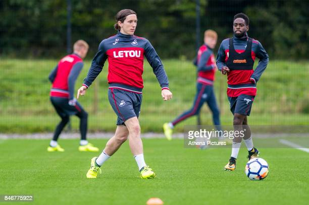 Aaron Lewis in action during the Swansea City training session at The Fairwood training Ground on September 13 2017 in Swansea Wales