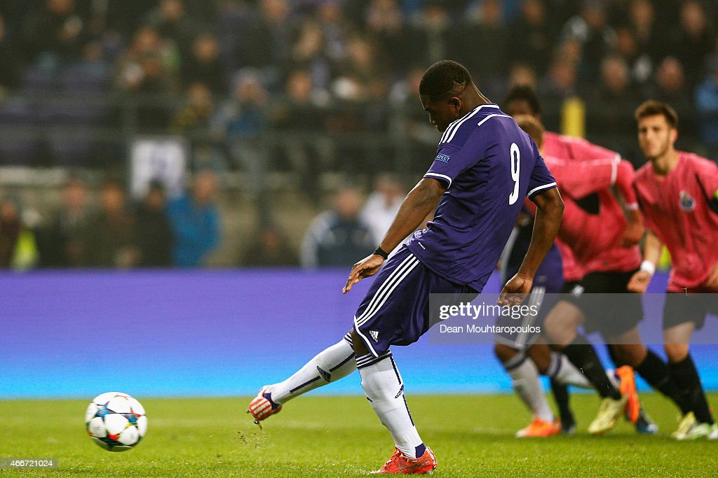 Aaron Leya Iseka of Anderlecht takes and scores a goal from the penalty spot completing his hat trick during the UEFA Youth League quarter final match between RSC Anderlecht and FC Porto at Constant Vanden Stock Stadium on March 18, 2015 in Brussels, Belgium.