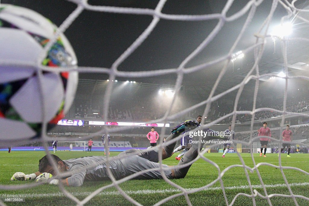 Aaron Leya Iseka of Anderlecht takes and scores a goal from the penalty spot completing his hat trick past goalkeeper, Gudino of Porto during the UEFA Youth League quarter final match between RSC Anderlecht and FC Porto at Constant Vanden Stock Stadium on March 18, 2015 in Brussels, Belgium.