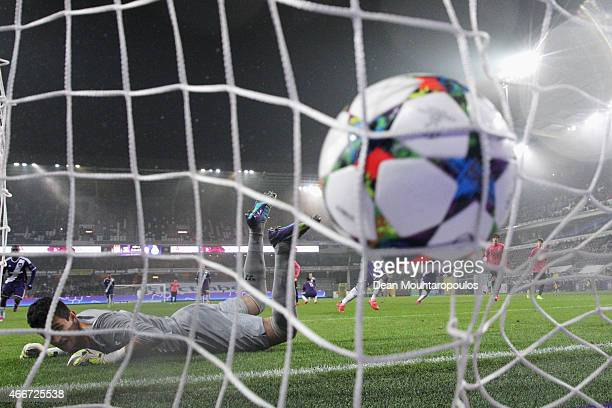 Aaron Leya Iseka of Anderlecht takes and scores a goal from the penalty spot completing his hat trick past goalkeeper Gudino of Porto during the UEFA...
