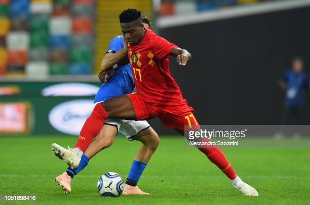 Aaron Leya Iseka of Belgium U21 in action during the International Friendly match between Italy U21 and Belgium U21 at Friuli Stadium on October 11...