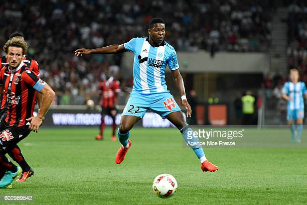 Aaron LEYA ISEKA of Marseille during the french Ligue 1 match between Ogc Nice and Olympique de Marseille at Allianz Riviera on September 11 2016 in...
