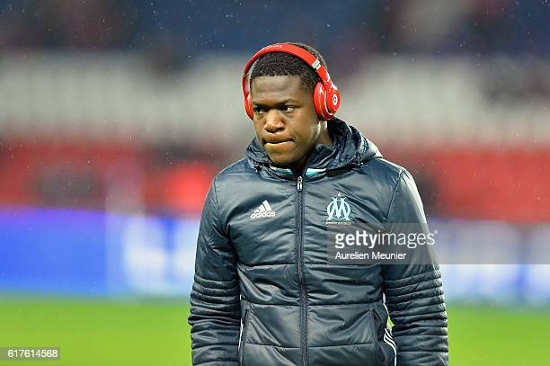 Aaron Leya Iseka of Olympique de Marseille reacts before the Ligue 1 match between Paris SaintGermain and Olympique de Marseille at Parc des Princes...