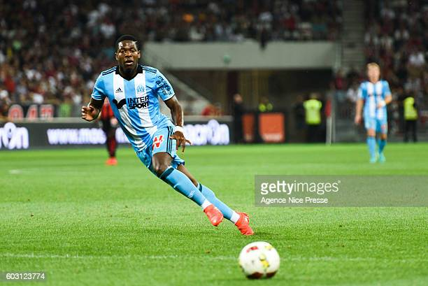 Aaron Leya Iseka of OM during the french Ligue 1 match between Ogc Nice and Olympique de Marseille at Allianz Riviera on September 11 2016 in Nice...