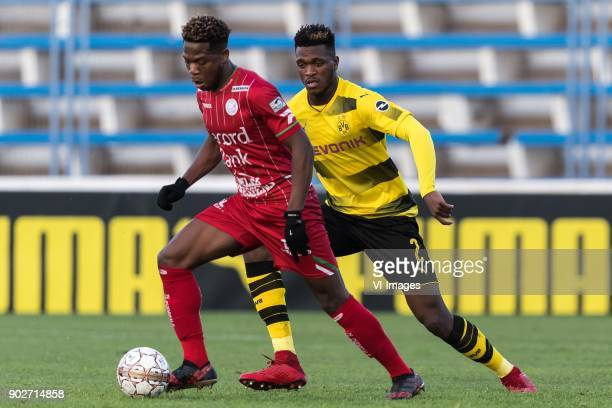Aaron Leya Iseka of SV Zulte Waregem DanAxel Zagadou of Borussia Dortmund during the friendly match between Borussia Dortmund and Zulte Waregem at...