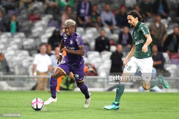 Aaron Leya Iseka of Toulouse and Neven Subotic of Saint Etienne during the Ligue 1 match between Toulouse and St Etienne at Stadium Municipal on...