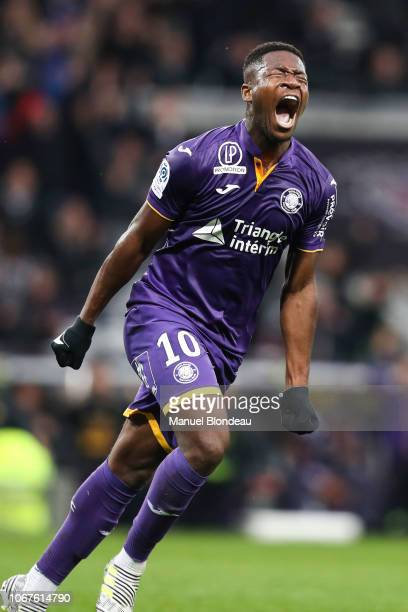 Aaron Leya Iseka of Toulouse celebrates after scoring a goal during the Ligue 1 match between Toulouse FC v Dijon FCO on December 2 2018 in Toulouse...