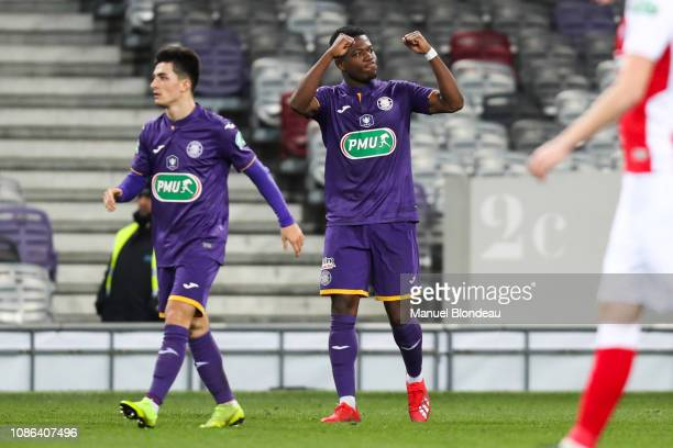 Aaron Leya Iseka of Toulouse celebrates after scoring a goal during the French Cup match between Toulouse and Reims at Stadium Municipal on January...