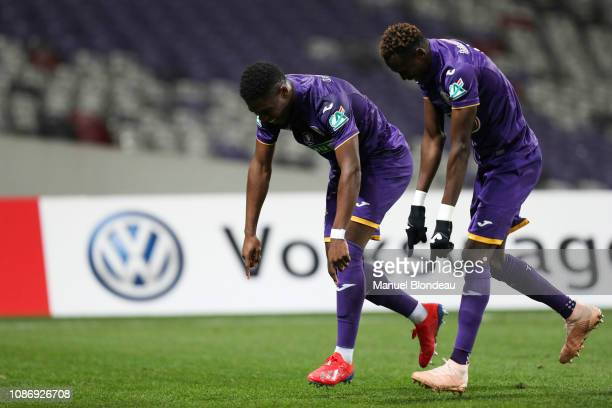Aaron Leya Iseka of Toulouse celebrates with Issiaga Sylla after scoring a goal during the French Cup match between Toulouse and Reims at Stadium...