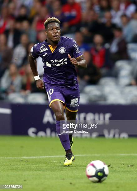 Aaron Leya Iseka of Toulouse during Ligue 1 match between Toulouse and Nimes on August 25 2018 in Toulouse France