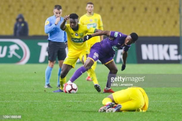 Aaron Leya Iseka of Toulouse during the French Cup match between Nantes and Toulouse at Stade de la Beaujoire on February 5 2019 in Nantes France