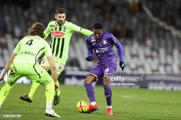 Aaron Leya Iseka of Toulouse during the Ligue 1 match between Toulouse and Angers at Stadium Municipal on January 27 2019 in Toulouse France