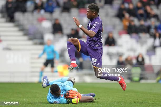 Aaron Leya Iseka of Toulouse during the Ligue 1 match between Toulouse and Stade Reims at Stadium Municipal on February 10 2019 in Toulouse France