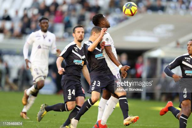 Aaron Leya Iseka of Toulouse during the Ligue 1 match between Bordeaux and Toulouse at Stade Matmut Atlantique on February 17 2019 in Bordeaux France