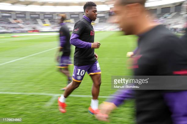 Aaron Leya Iseka of Toulouse during the Ligue 1 match between Toulouse and Guingamp at Stadium Municipal on March 10 2019 in Toulouse France