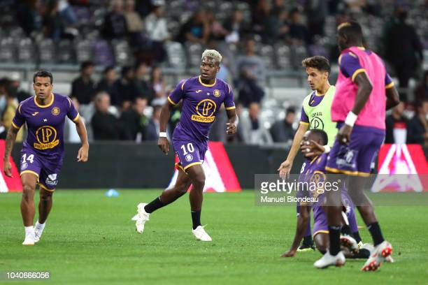 Aaron Leya Iseka of Toulouse during the Ligue 1 match between Toulouse and St Etienne at Stadium Municipal on September 25 2018 in Toulouse France