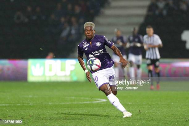 Kelvin Amian of Toulouse during the Ligue 1 match between Angers and Toulouse at Stade Jean Bouin on September 22 2018 in Angers France