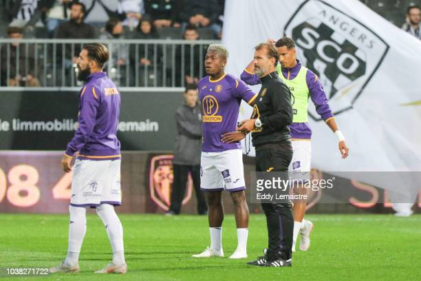 Aaron Leya Iseka of Toulouse during the Ligue 1 match between Angers and Toulouse at Stade Jean Bouin on September 22 2018 in Angers France