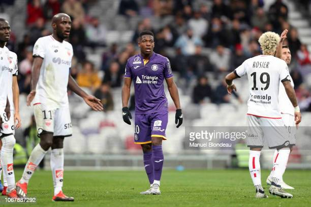 Aaron Leya Iseka of Toulouse during the Ligue 1 match between Toulouse FC v Dijon FCO on December 2 2018 in Toulouse France