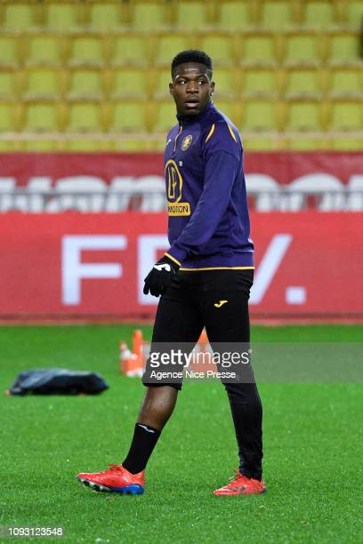 Aaron Leya Iseka of Toulouse during the Ligue 1 match between Monaco and Toulouse at Stade Louis II on February 2 2019 in Monaco Monaco