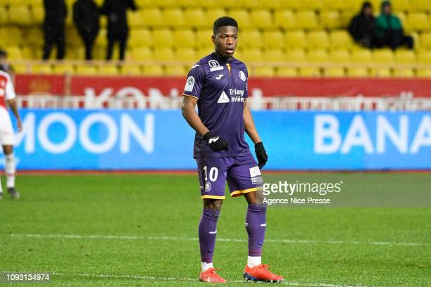 Aaron Leya Iseka of Toulouse during the Ligue 1 match between Monaco and Toulouse at Stade Louis II on February 2, 2019 in Monaco, Monaco.