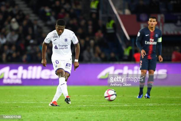 Aaron Leya Iseka of Toulouse during the Ligue 1 match between Paris Saint Germain and Toulouse at Parc des Princes on November 24 2018 in Paris France