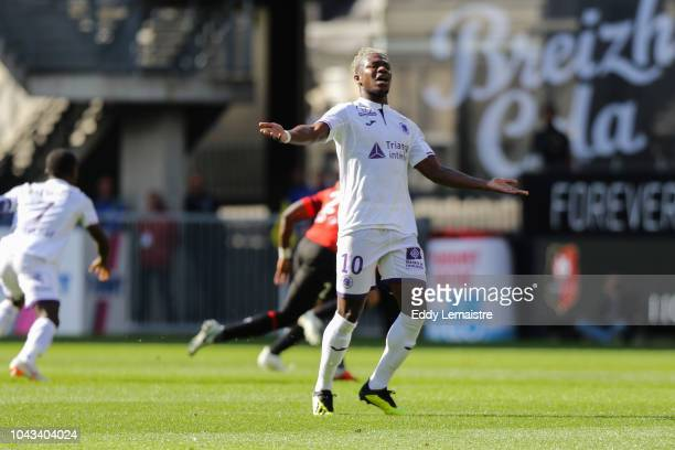Aaron Leya Iseka of Toulouse during the Ligue 1 match between Rennes and Toulouse at Roazhon Park on September 30 2018 in Rennes France