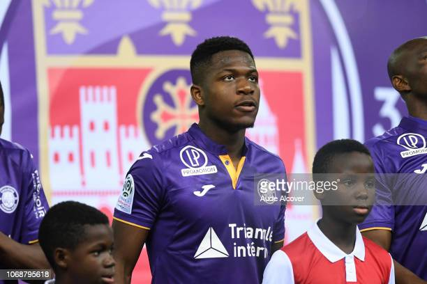 Aaron Leya Iseka of Toulouse during the Ligue 1 match between Stade de Reims and Toulouse FC on December 5 2018 in Reims France