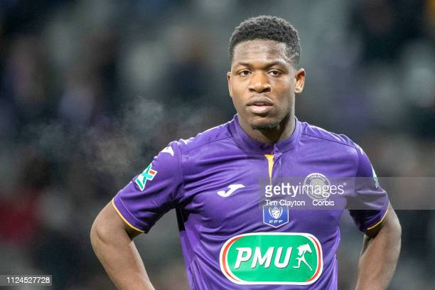 Aaron Leya Iseka of Toulouse during the Toulouse FC V Stade de Reims Coupe de France match at the Stadium Municipal de Toulouse on January 22nd 2019...