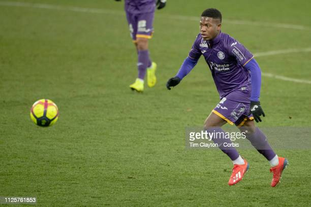 Aaron Leya Iseka of Toulouse in action during the Toulouse FC V Angers French Ligue 1 regular season match at the Stadium Municipal de Toulouse on...