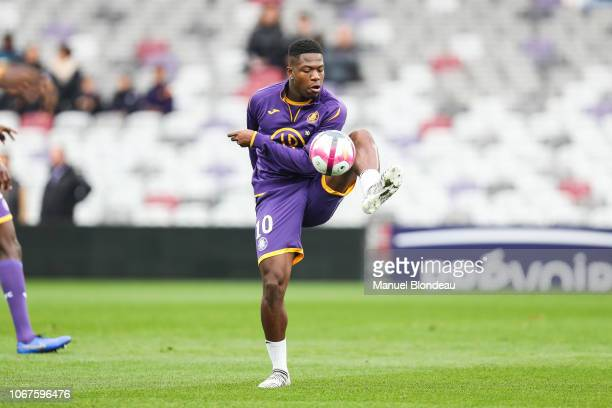 Aaron Leya Iseka of Toulouse warm up before the Ligue 1 match between Toulouse FC v Dijon FCO on December 2 2018 in Toulouse France