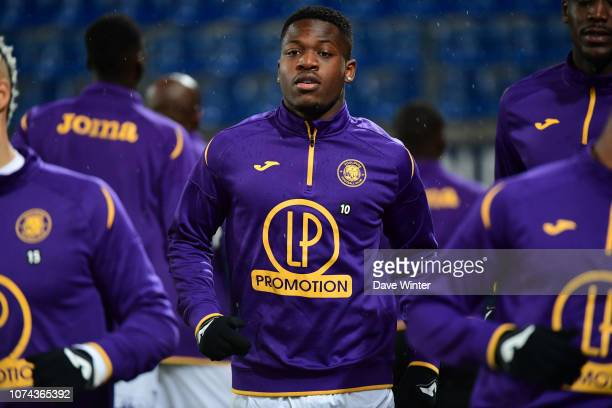 Aaron Leya Iseka of Toulouse warms up before the Ligue 1 match between Caen and Toulouse at Stade Michel D'Ornano on December 18 2018 in Caen France