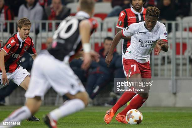 Aaron Leya Iseka of Zulte Waregem during the UEFA Europa League match between Nice v Zulte Waregem at the Allianz Riviera on November 23 2017 in Nice...