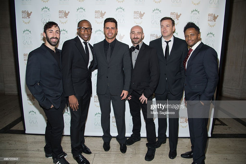 Aaron Libby, Chris Jackson, Guto Bittencourt, Skizzo Arnedillo, Jeff Suroka and Chris Michael attend the 2015 Aid For AIDS Gala at Cipriani Downtown on November 4, 2015 in New York City.
