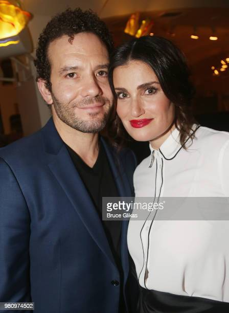 Aaron Lohr and wife Idina Menzel pose at The Opening Night After Party for The Roundabout Theatre Company's new play 'Skintight' at Naples 45...