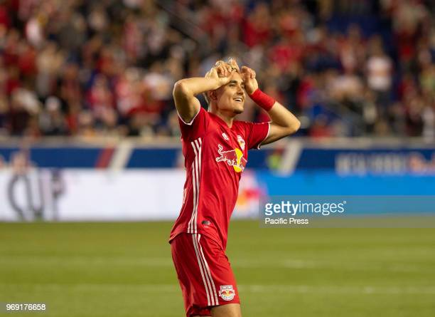 Aaron Long of Red Bulls celebrates scoring goal during 4th round Lamar Hunt US Open Cup game against NYCFC at Red Bull arena Red Bulls won 4 0