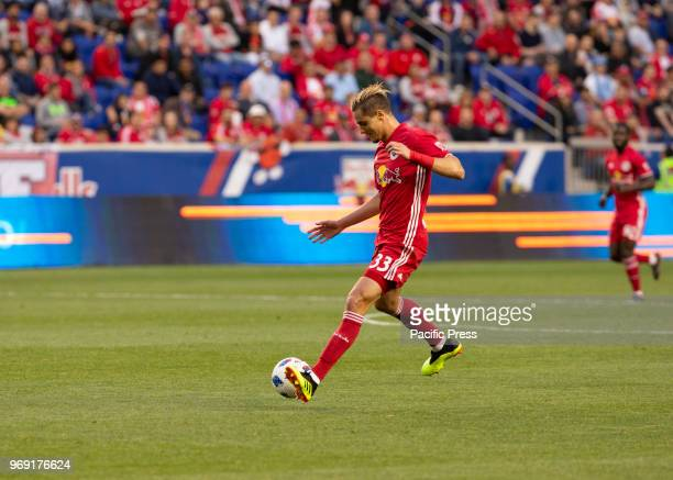 Aaron Long of Red Bulls controls ball during 4th round Lamar Hunt US Open Cup game against NYCFC at Red Bull arena Red Bulls won 4 0