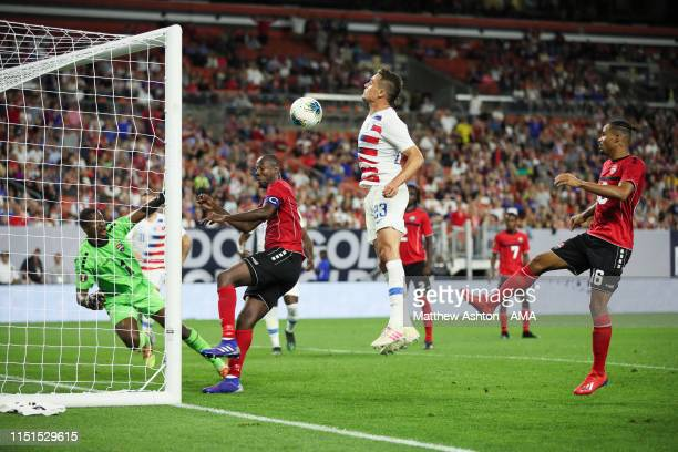 Aaron Long of USA scores a goal to make it 60 during the Group D 2019 CONCACAF Gold Cup fixture between United States of America and Trinidad Tobago...